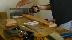 Cutting and mark out wood Stock Footage