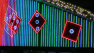 Stock Video Footage of animated neon dice marquee loop