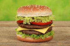 double cheeseburger - stock photo
