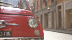 Vintage FIAT on a street in Rome - stock footage