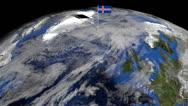 Iceland flag on pole on earth globe animation Stock Footage