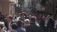 Busy shopping street in Rome Stock Footage
