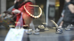 Jewellery on store display Stock Footage