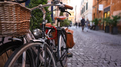 Vintage bikes on a street in Rome Stock Footage