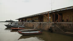 Boats on wharf area in Porto Alegre, Brazil (poawharf 06) Stock Footage