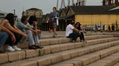 Tourists overlook the river in Porto Alegre, Brazil (poawharf 02) Stock Footage