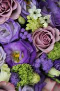 bridal arrangement in different shades of purple - stock photo