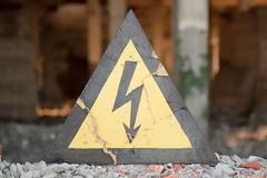 Danger electrical hazard high Stock Photos