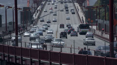 Traffic cars on the Golden Gate Bridge in san francisco - stock footage