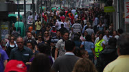 Stock Video Footage of Walking crowd in a South American city (PoaCrowd 01)