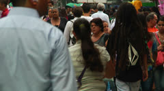 Colorful and multiethnic crowd in a South American city (PoaCrowd 09) Stock Footage