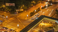 Vantage View Of  Traffics At An Intersection Stock Footage