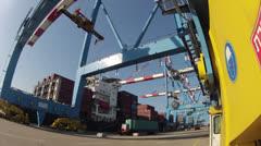Haifa's harbor docks wide angle time lapse Stock Footage