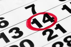 Date on the calendar in red marker Stock Photos