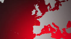 Europe in the red Stock Footage