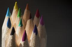 a stack of colored pencils - stock photo