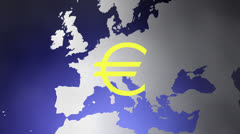 Euro symbol and continent Stock Footage