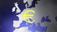 Stock Video Footage of Euro symbol and continent