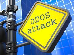 Internet Concept. DDOS Attack Roadsign. Stock Illustration