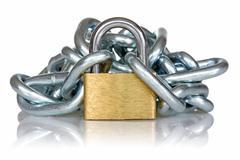 Stock Photo of yellow metal padlock and chain