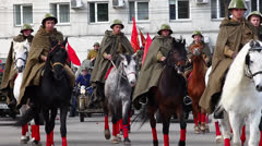 Military parade. Horses. Stock Footage