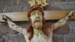 Very bloody scary jesus on the cross 10896 Stock Footage