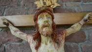 Stock Video Footage of very bloody scary jesus on the cross 10896