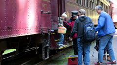 Conductor helps passengers off Skunk Train fast timelapse HD 6073 Stock Footage