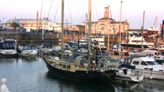 Yachts in Ramsgate harbor Stock Footage