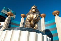 Lion statue at las vegas mgm grand casino hotel on the las vegas strip Stock Photos
