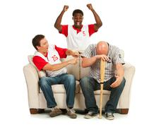 Fans: man distraught with losing team Stock Photos