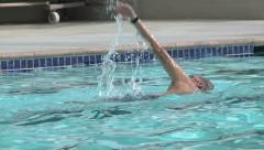 Active Male Senior Citizen Swimming Pool Outdoors Exercise Water Therapy Retired - stock footage