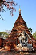Temple in Inwa village, Myanmar - stock photo