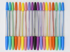rainbow ballpoint pens - stock photo
