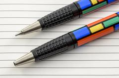 funky coloured pen and pencil 02 - stock photo
