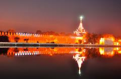 Mandalay palace's gate in night - stock photo
