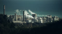 Industrial plant air and sea pollution - stock footage