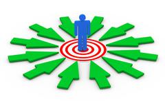 3d man on target surround by arrows Stock Illustration