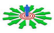 Stock Illustration of 3d man on target surround by arrows