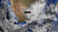 South Africa flag on pole on earth globe animation Stock Footage