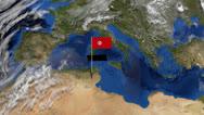 Tunisia flag on pole on earth globe animation Stock Footage