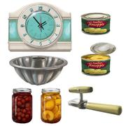 Clock, Cans, Can Opener, Jars, Canned Fruit, Jello Mold - stock illustration