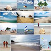 Beautiful beaches collage Stock Illustration
