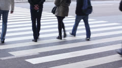 Wide pedestrian passage near airport or bus/railway station. People on crosswalk - stock footage