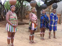 Zulu girls in Shakaland in South Africa - stock photo