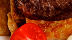 Grilled beef fillet mignon on bread Stock Footage