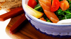 Green salad with smoked salmon Stock Footage