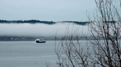 Ferry and Low Band of Fog Stock Footage