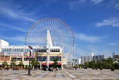ferris wheel in tempozan harbor village - osaka, japan - stock photo