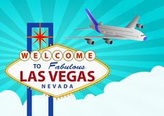 las vegas and airplane - stock illustration